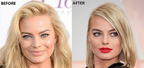 A picture of Margot Robbie before (left) and after (right).