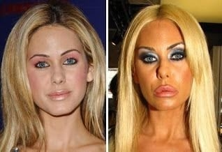 A picture of Shauna Sand before (left) and after (right).