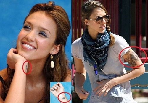 A picture of Jessica Alba's tattoos.