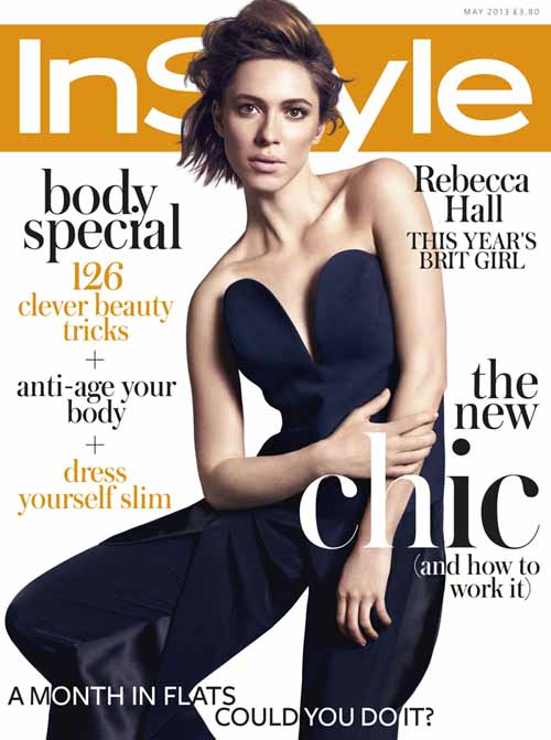 A photo of Rebecca Hall in a cover of InStyle.