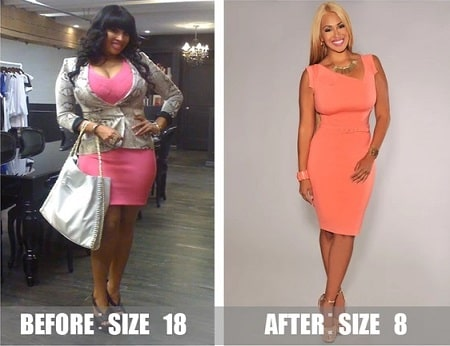 A picture of Somaya Reece before (left) and after (right) shocking weight loss.