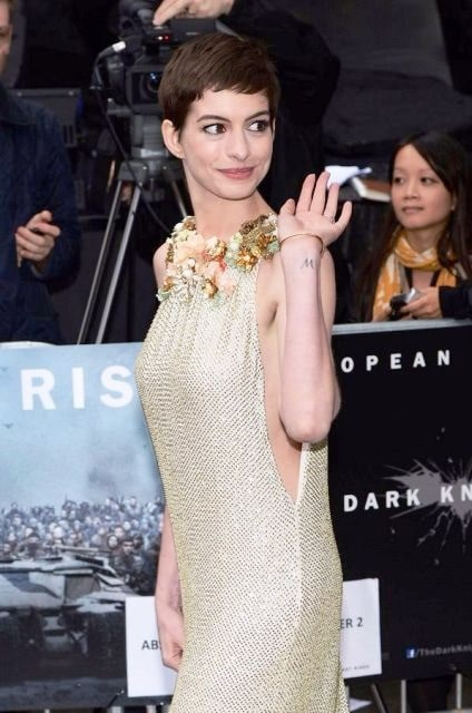 A picture of Anne Hathaway's tattoo on left wrist.