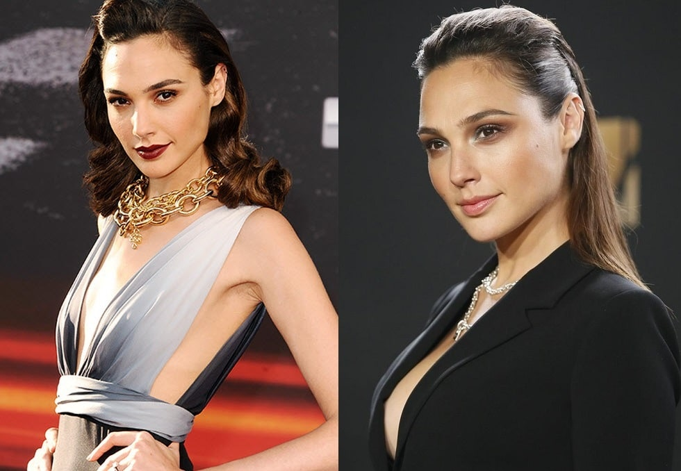 A picture of Gal Gadot before (left) and after (right).