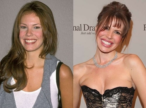 A picture of Nikki Cox before (left) and after (right).