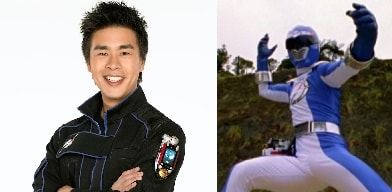A picture of Gareth Yuen in left and again Gareth as Blue Ranger in right