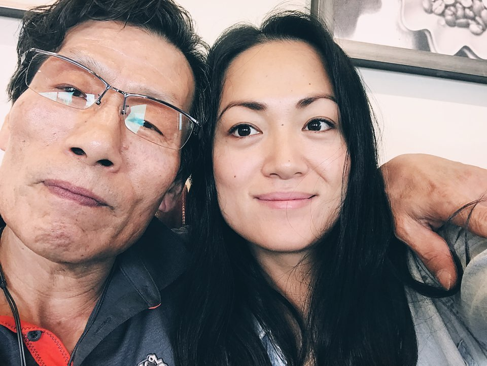Ra Chapman taking selfie with her Korean father.