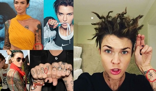 A picture of Ruby Rose's tattoos.