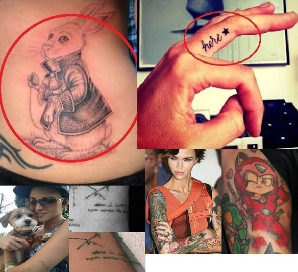A picture of Four tattoos of Ruby Rose.