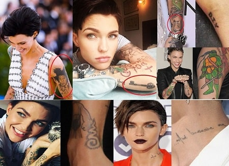 A picture of Ruby Rose' tattoos.