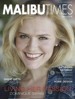 A picture of Tiffany Anastasia Lowe featuring in the Malibu Times magazine.