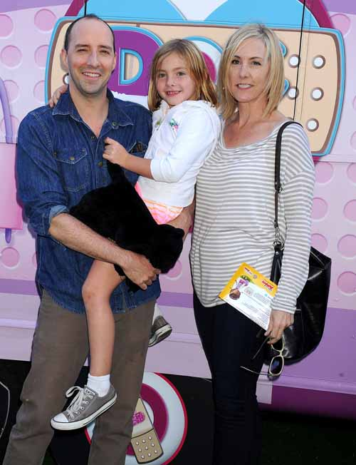 A picture of Martel Thompson with her husband Tony Hale and daughter.
