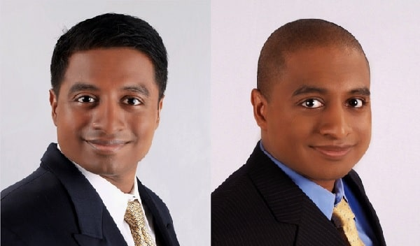 A picture of Vijay Chokalingam before (left) and after turning (right) into black American.
