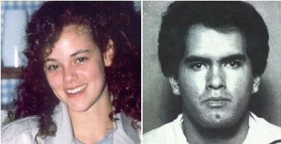 A picture of Rebecca Schaeffer(Left), who was murdered by Robert John Bardo(Right).