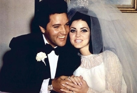 A picture of Elvis Presley with his ex-wife, Priscilla Presley.
