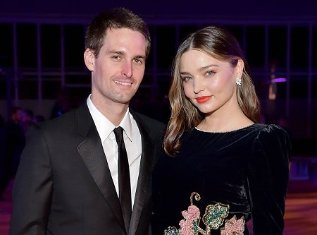 A picture of Miranda Kerr and her current husband, Evan Spiegel.