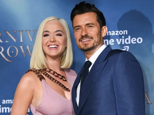 A picture of Orlando Bloom with his fiance, Katy Perry.