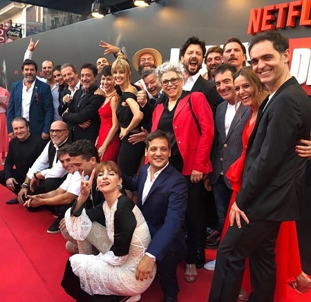 A picture of Kiti Manver with the team of 'La Casa de Papel' aka 'Money Heist'.
