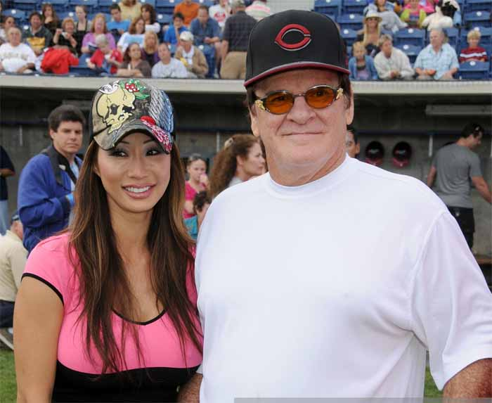 A picture of Kiana Kim and Pete Rose.