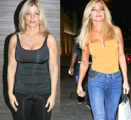 A picture of Donna D'Errico before (left) and after (right)  tummy tuck.