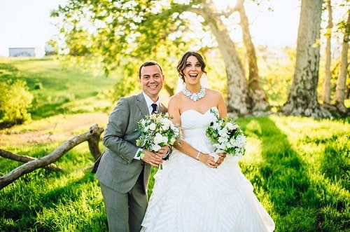 A picture of Joe Lo Truglio with his wife, Beth Dover at their wedding.