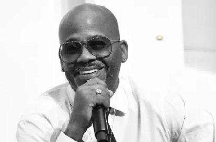 A black and white picture of Damon Dash.
