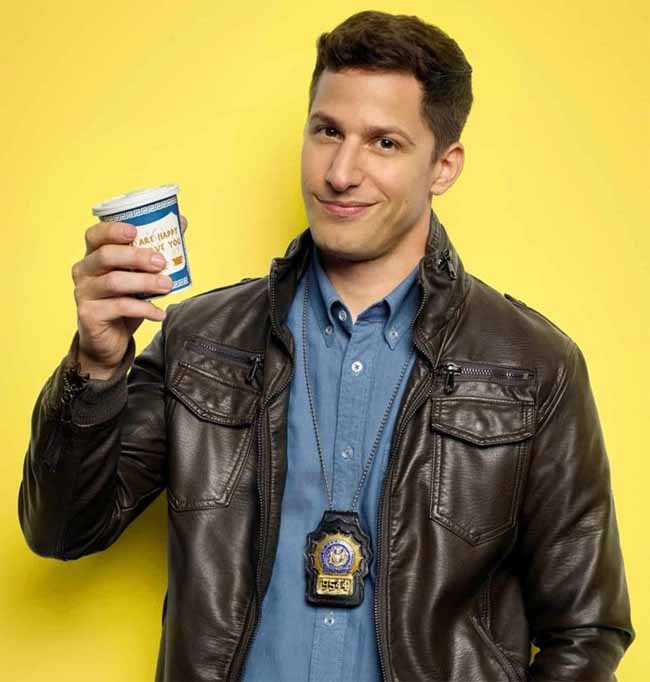 Detective Jake Peralta poses for a photo.
