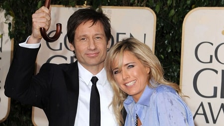A picture of Madelaine West Duchovny's parents: David Duchovny and Tea Leoni.