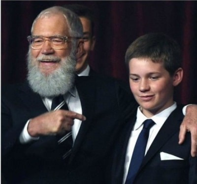 A picture of Harry Joseph Letterman with his father, David Letterman.