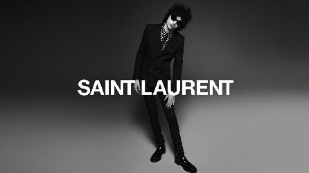 A black and white picture of Finn Wolfhard modelling for Saint Laurent's Fall/Winter '19 campaign..