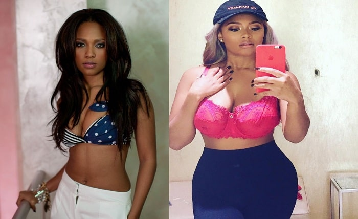 A picture of Teairra Mari before and after liposuction.