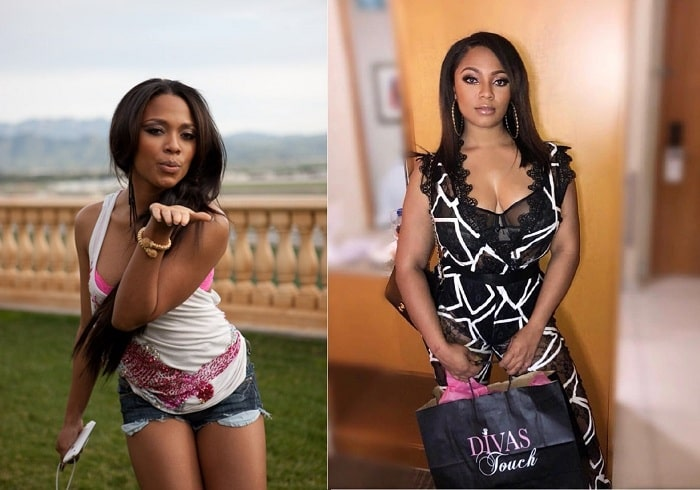A picture of Teairra Mari before and after plastic surgery.