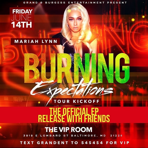 Mariah Lynn's Burning Expectations tour poster
