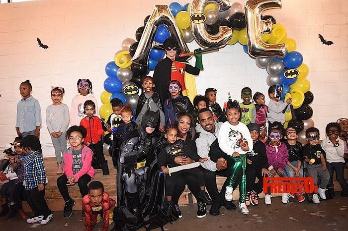 Ace Wells Tucker celebrating his Batman theme birthday party with his family and friends..