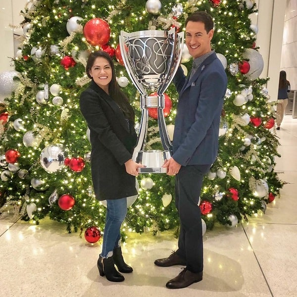 A picture of Joey Logano with his wife, Brittany Baca.