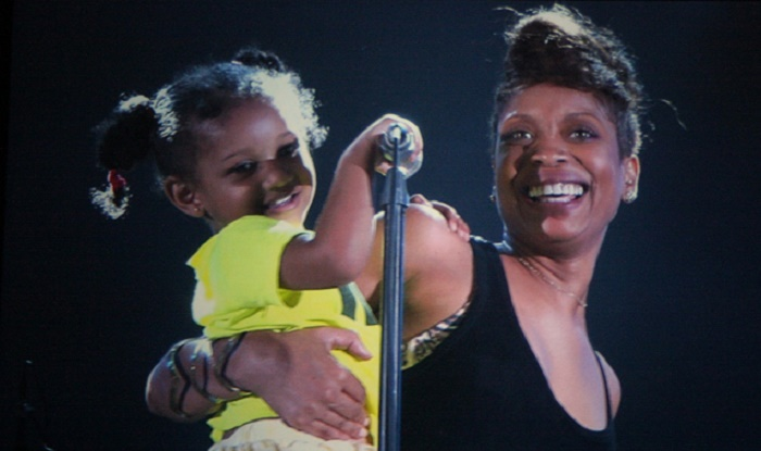 Mars Merkaba Thedford with her mother Erykah at 2012 Umbria Jazz.