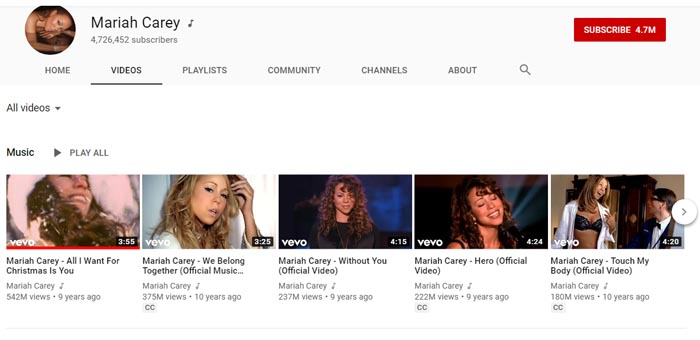 Mariah Carey official YouTube Channel.