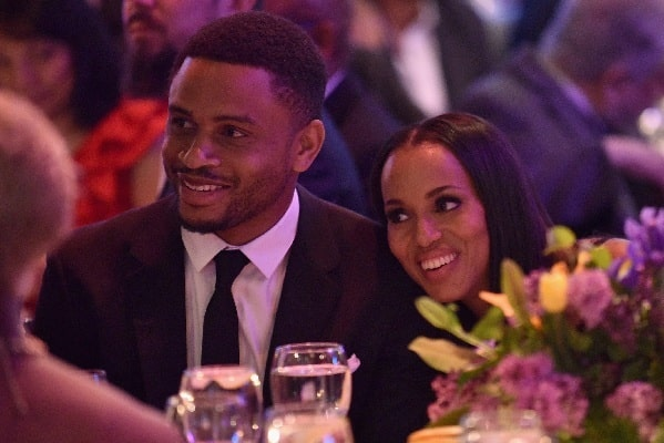 A picture of Nnamdi Asomugha with his wife, Kerry Wasington.