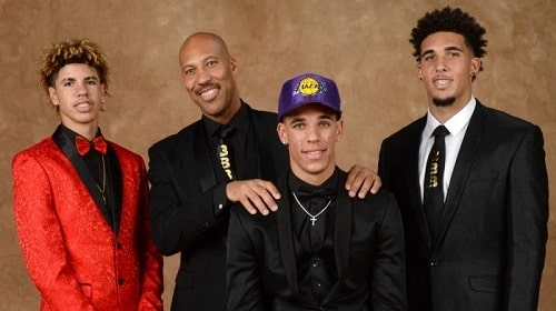 A picture of LaVar Ball with his three sons.