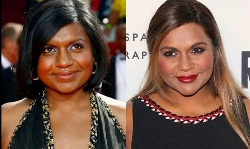 A picture of Mindy Kaling before (left) and after (right).