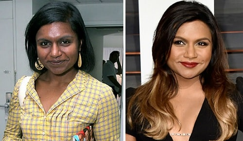 A picture of Mindy Kaling before and after.