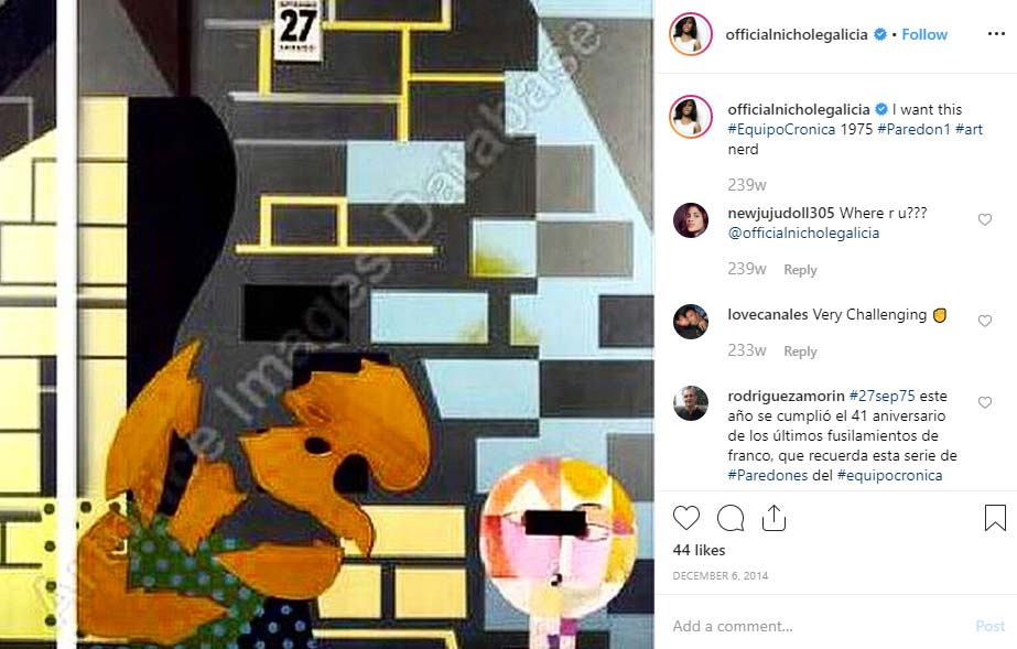 Nichole Galicia post one of her artwork in Instagram account.