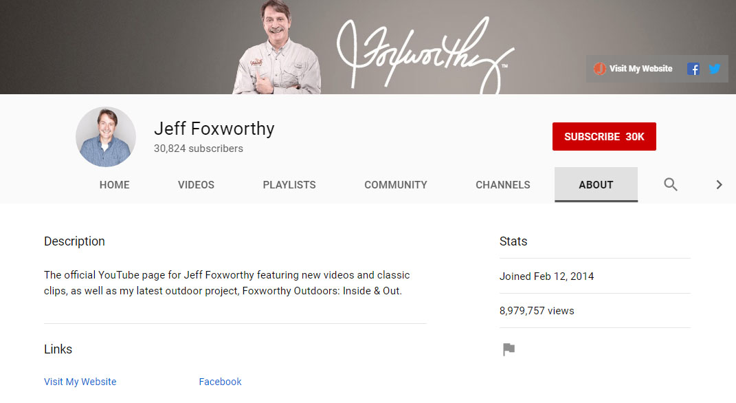 Jeff Foxworthy YouTube channel.