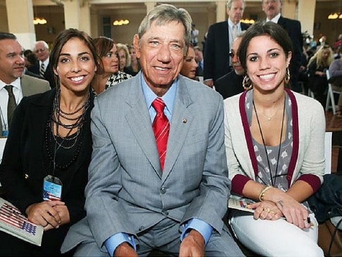 Deborah's two daughter, Olivia and Jessica with their dad Joe Namath.