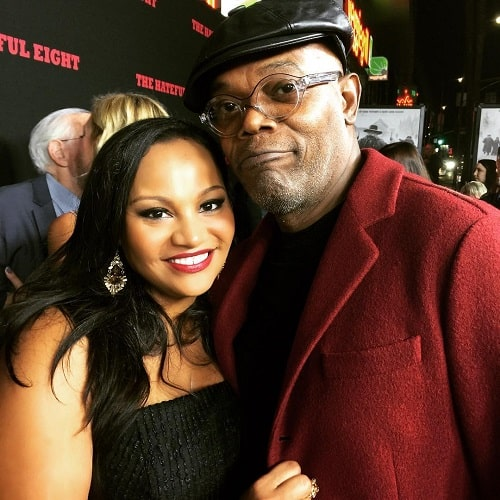 A picture of Dana Gourrier with Samuell Jackson aka 'Nick Fury.'
