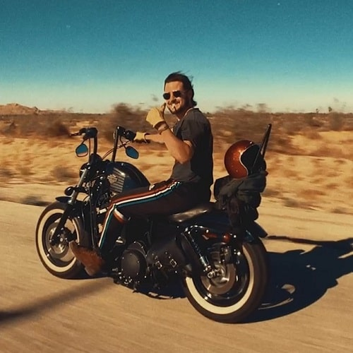 A picture of Tyler Hynes riding his Harley Davidson bike.