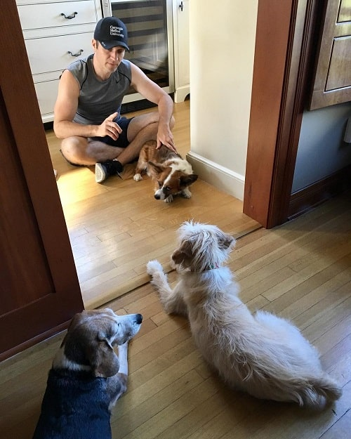 A picture of Seamus Dever with his dogs.