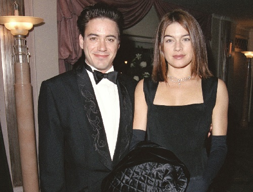 Deborah Falconer attending an event with her former husband Robert Downey Jr.