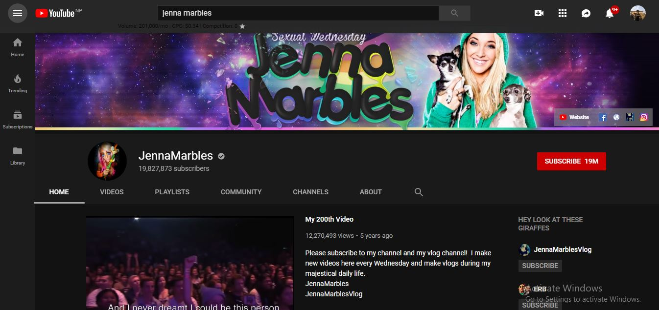 A picture of YouTube channel of Jenna Marbles.