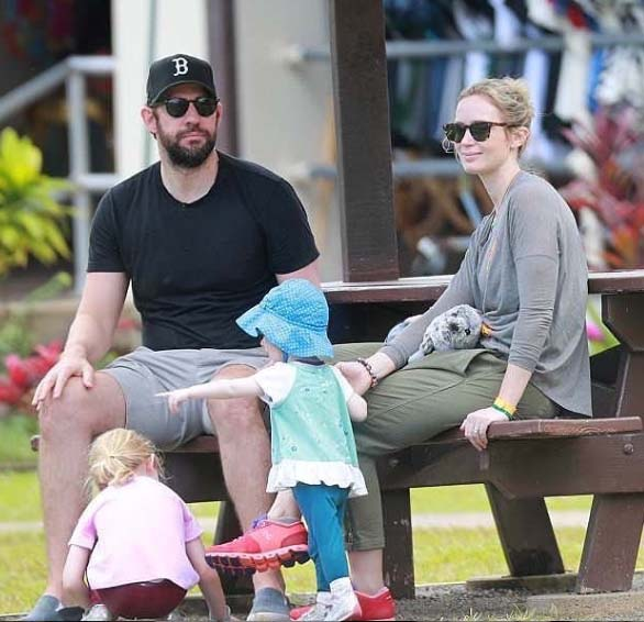 Emily Blunt spending quality of time with her husband and children.