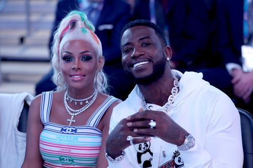 Gucci Mane and his wife Keyshia taking a picture together.